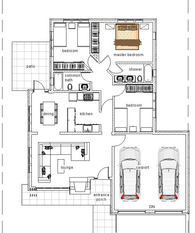 3 bedroom flat plan 1