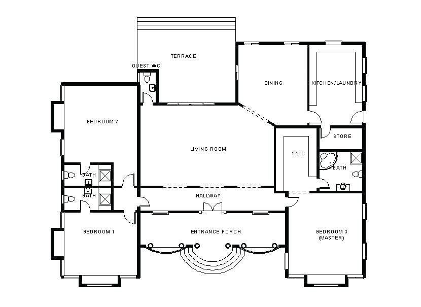 3 bedroom flat plan 3