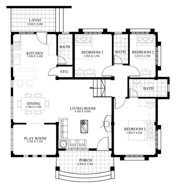 3 bedroom flat plan 4