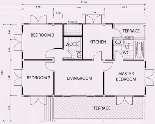 3 bedroom flat plan 6