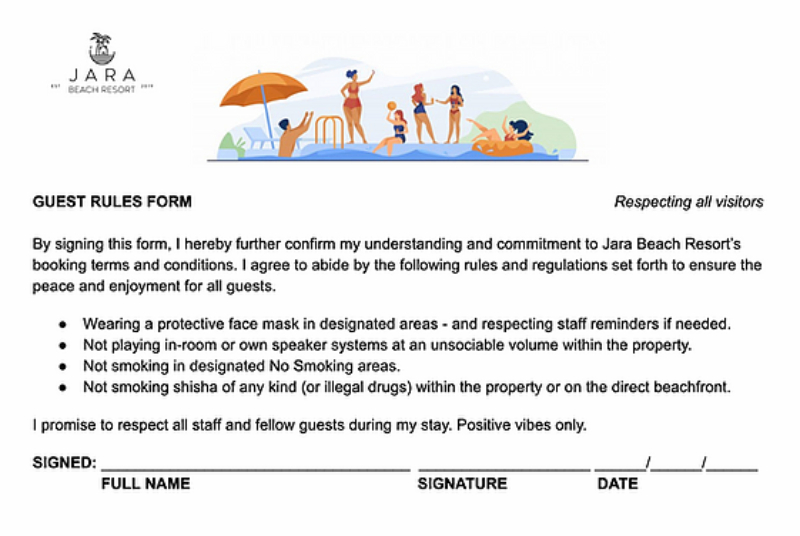 GUEST RULES ARRIVAL FORM - Jara Beach Resort: [ Pictures & Honest Review]